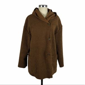 MAX STUDIO Hooded Faux Shearling Knit Jacket Brown